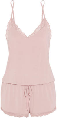 Seductive Comfort Lace-trimmed Stretch-modal Romper - Baby pink