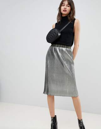 HUGO Metallic Skirt with Logo Waistband