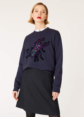 Paul Smith Women's Navy Sequin 'Dreamer Beetle' Cotton Sweatshirt
