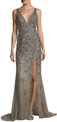 Jovani Sequined Deep V-Neck Evening Gown