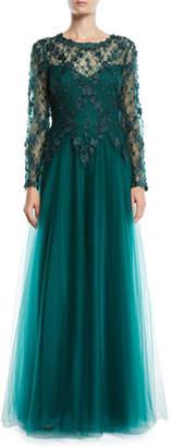 Tadashi Shoji 3D Lace Gown w/ Flowy Skirt