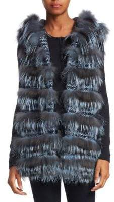 The Fur Salon Fox Hoodie Vest