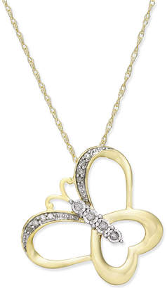 Macy's Diamond Accent Butterfly Pendant Necklace in 10k Gold