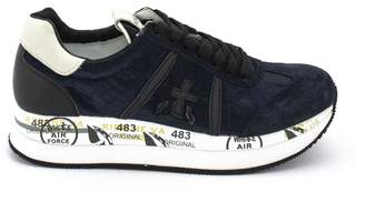 Premiata Conny Sneaker In Blue Leather And Fabric.