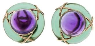 14K Yellow Gold Purple Green Glass Earrings