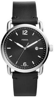 Fossil The Commuter Three-Hand Black Leather Watch