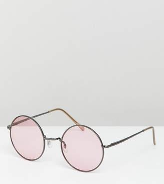 Asos Design DESIGN Metal Round Sunglasses In Gunmetal