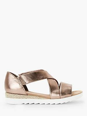 Gabor Promise Wide Fit Low Wedge Sandals, Bronze