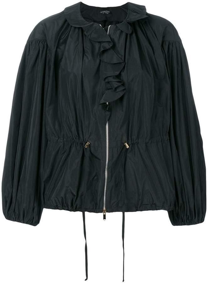 puff sleeve ruffle front jacket