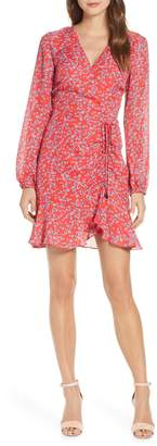 Adelyn Rae April Print Long Sleeve Ruched Dress