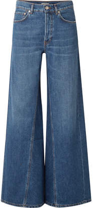 Ganni High-rise Wide-leg Jeans - Mid denim