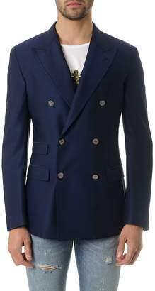 Dolce & Gabbana Navy Blu Wool Twofold Jacket