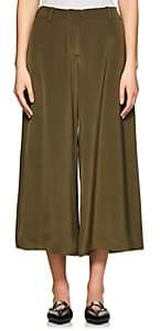 Ji Oh WOMEN'S MERCER SILK WIDE-LEG PANTS-GREEN SIZE 6