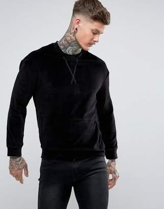 Religion Velour Sweatshirt With Pocket