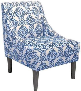 One Kings Lane Quinn Swoop-Arm Accent Chair - Indigo/White