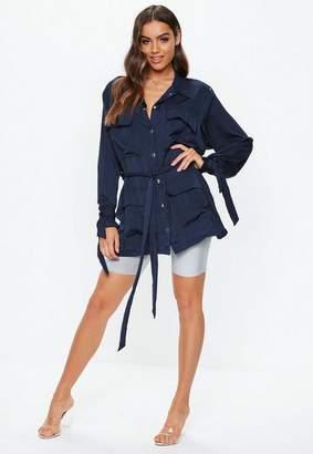 Missguided Navy Satin Jacket