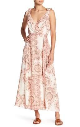 Nanette Lepore NANETTE Luciana Printed Ruffle Wrap Maxi Dress