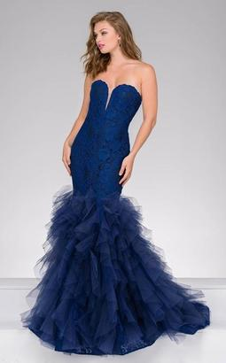Jovani - 37478A Strapless Lace Ruffled Mermaid Gown $640 thestylecure.com
