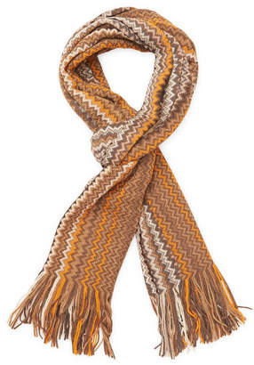 Missoni Chevron Fringe Wool Long Scarf