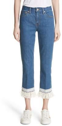 Tory Burch Connor Fringe Trim Crop Jeans