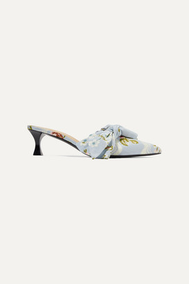 Brock Collection Tabitha Simmons Bow-embellished Jacquard Mules - Blue