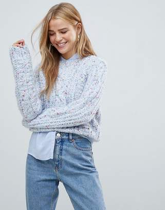 Pull&Bear cable knitted sweater in blue