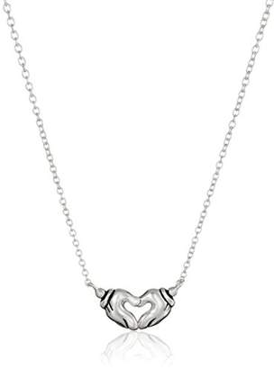 Disney Sterling Mickey Mouse Hands Forming A Heart Pendant Necklace