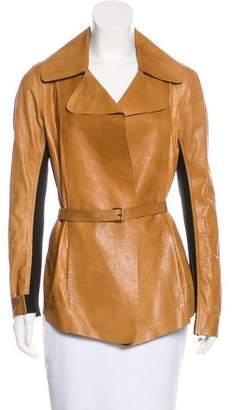 Donna Karan Leather Belted Jacket
