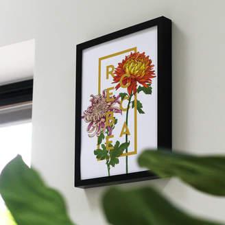 The Print Florist Personalised Chrysanthemum Botanical Flower Art Print