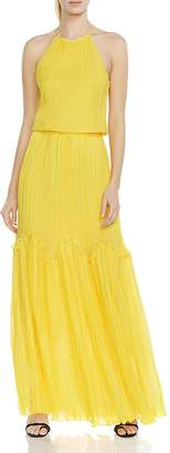 Halston Pleated Ruffled Gown