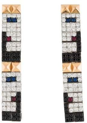 Enigma 18K Diamond & Multistone Pyramid Stud Earrings