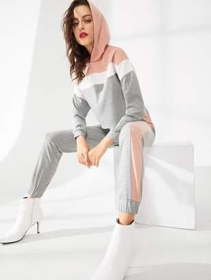 Shein Cut and Sew Hoodie and Elastic Waist Sweatpants Set