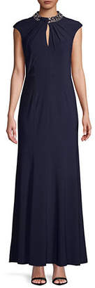 Vince Camuto Beaded Mock Neck Sleeveless Gown