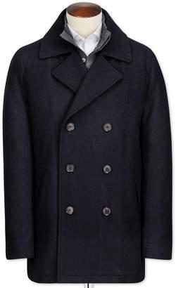 Charles Tyrwhitt Navy Wool Pea Wool Coat Size 40