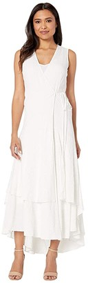 Calvin Klein Sleeveless Faux Wrap Gauze Dress