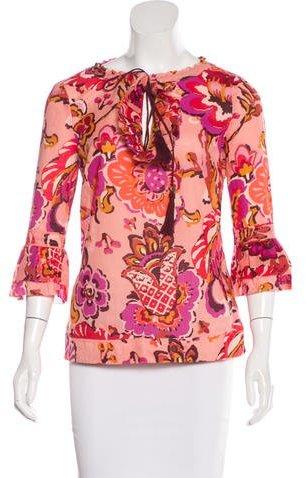 Tory BurchTory Burch Floral Print Three-Quarter Sleeve Tunic