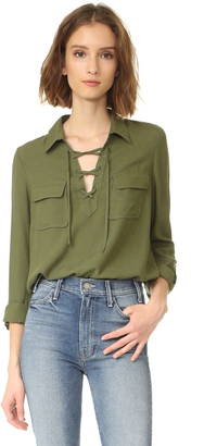 BB Dakota Jack by BB Dakota Nutmeg Lace Up Shirt $65 thestylecure.com