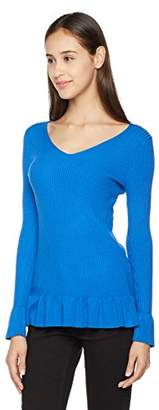 True Angel Women's 3/4 Sleeve with Cuff Slit Vee Neck Ribbed Pullover