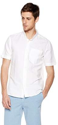 Isle Bay Linens Men's Slim Fit Short Sleeve Linen Cotton Button-Down Shirt