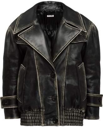 Miu Miu vintage-effect leather jacket