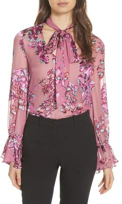 Saloni Lauren Floral Tie Neck Top
