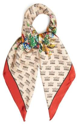 Gucci Invite And Flowers Print Silk Twill Scarf - Womens - Red