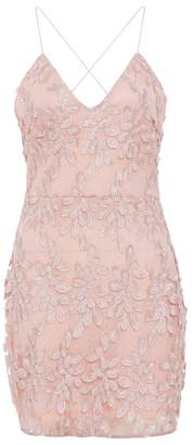 Quiz Pink Lace Floral Bodycon Dress