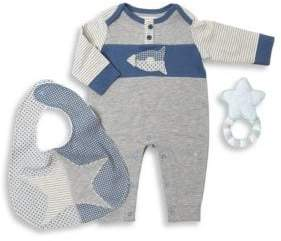 Oliver & Adelaide Baby's Three-Piece Coverall, Astro Bib & Crochet Star Teether Cotton Gift Set