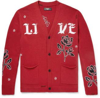 Amiri Leather-Appliquéd Cashmere and Wool-Blend Cardigan