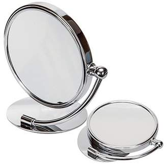 Harry D. Koenig Round Double Sided Vanity Folding Stand Mirror Chrome 7x Magnified