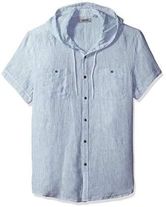 Kenneth Cole Reaction Men's Short Sleeve Hood Mini Stripe Woven Shirt