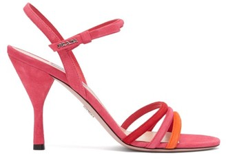 Prada Trio Strap Slingback Suede And Leather Sandals - Womens - Pink Multi