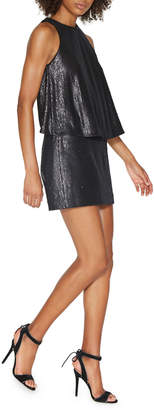 Halston Sleeveless Sequined Mini Dress