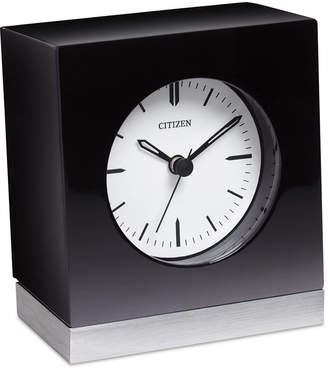 Citizen Workplace Black Wood & Silver-Tone Metal Clock